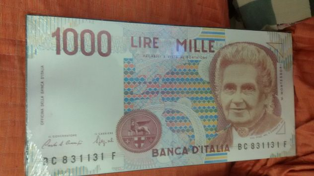 TELA BANCONOTA 1000 LIRE MONTESSORI