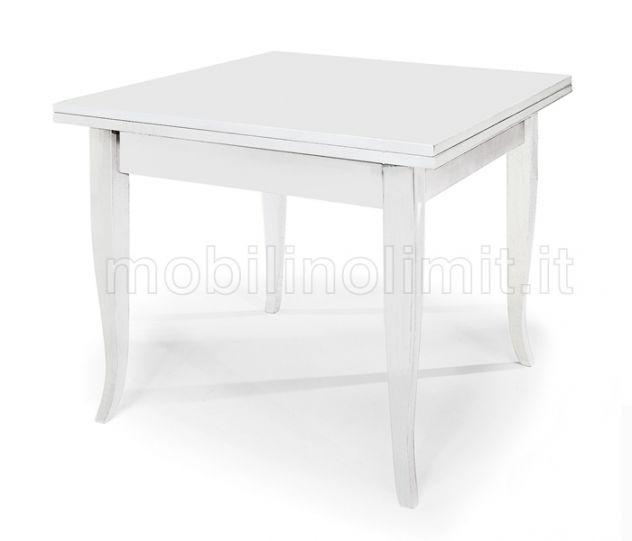 Tavolo Allungabile a Libro (100x100) - Bianco Opaco - Nuovo