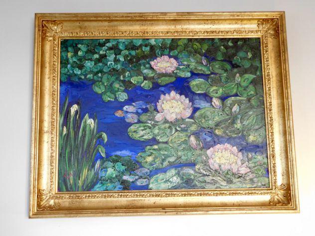 Quadro Dipinto Olio su tela raffigurante NINFEE E CALLE NEL GIARDINO