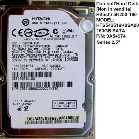 PCB Hard disk Hitachi 5K250-160 GB sata 2,5''  Dati Scheda logica (in - Foto 3