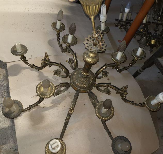 Lampadario in bronzo e ottone, prodotto in Italia nel 1970