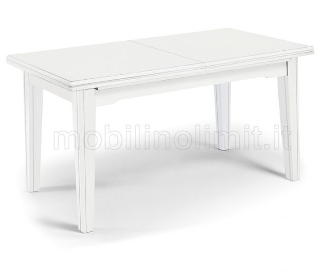 Tavolo Con Allunghe (160x85) - Bianco Opaco - Nuovo
