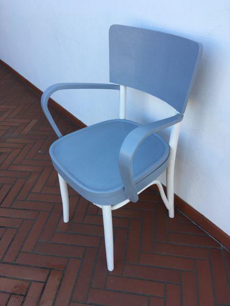 sedia - poltrona (comoda) degli anni 40 vintage shabby bianco grigio - Foto 2