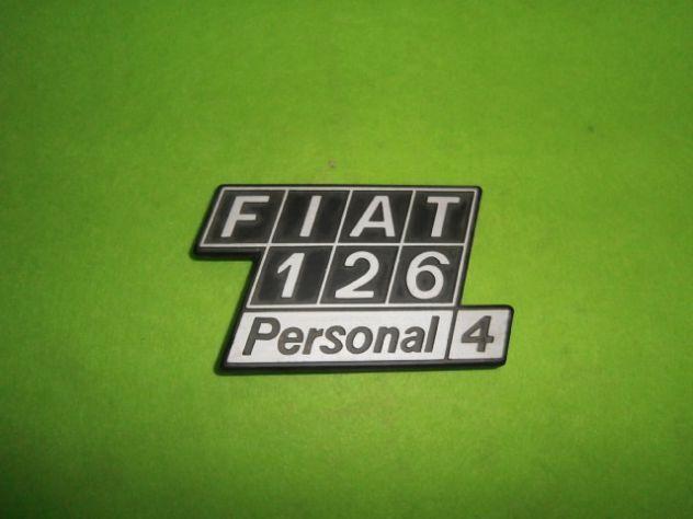 Scritta posteriore Fiat 126 personal 4 NUOVA in metallo