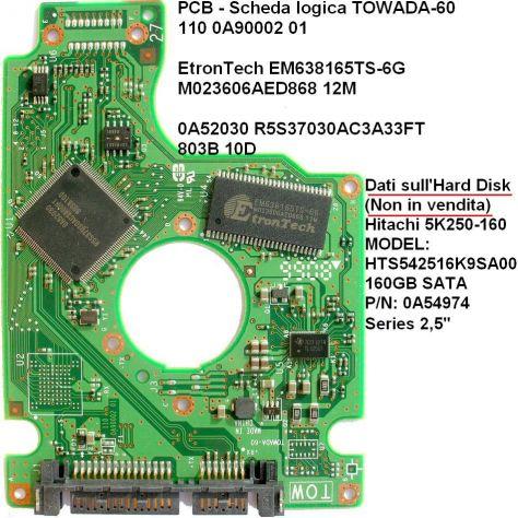 PCB Hard disk Hitachi 5K250-160 GB sata 2,5''  Dati Scheda logica (in