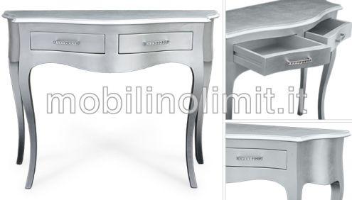 Consolle 2 cassetti foglia argento - Nuovo