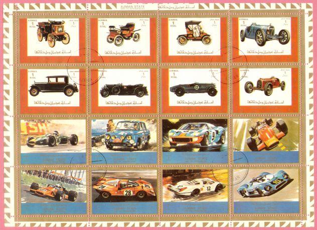 AJMAN 1973 foglio Auto vecchie e da corsa MNH