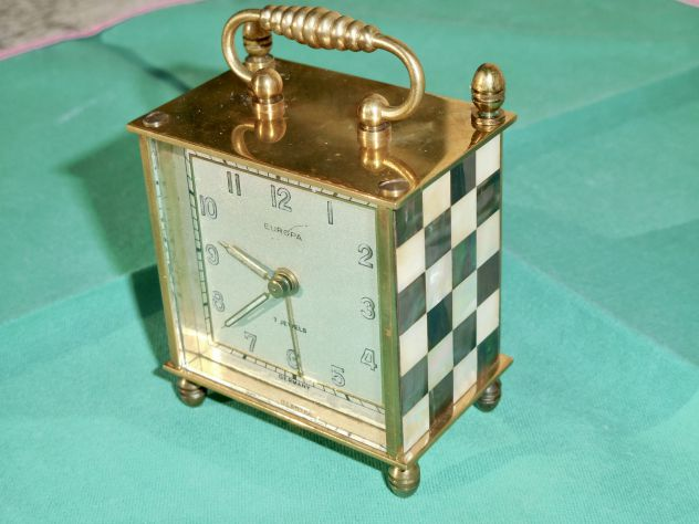 Orologio Sveglia anni 40 DECO mosaici in madreperla, Made in Germany