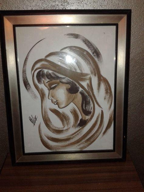QUADRO dipinto a mano DONNA DI COLORE in cornice di legno 38x48 firmato