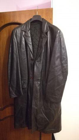 Cappotto in vera pelle nero uomo