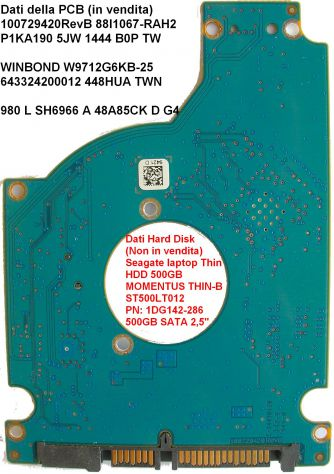 PCB Hard Disk Seagate laptop Thin HDD 500GB SATA 2,5 Dati della scheda logica (i - Foto 2