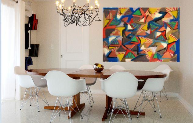 Quadro astratto moderno contemporaneo dipinto unico originale 105 86 ...