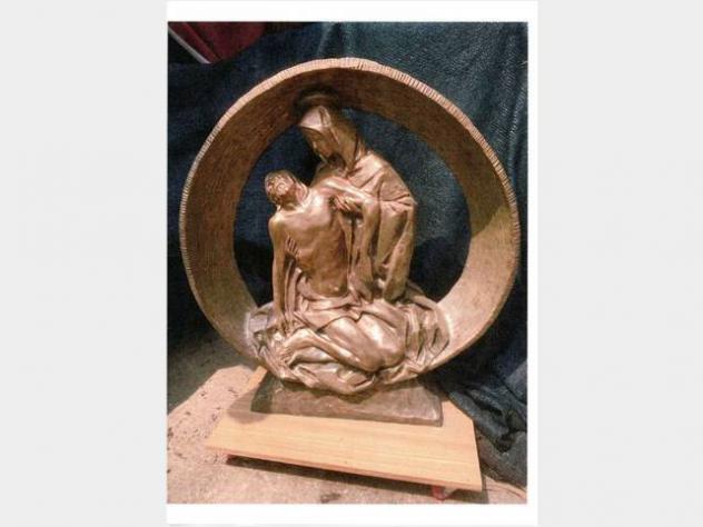 SCULTURA statua di bronzo cm 98 x 92 arte sacra