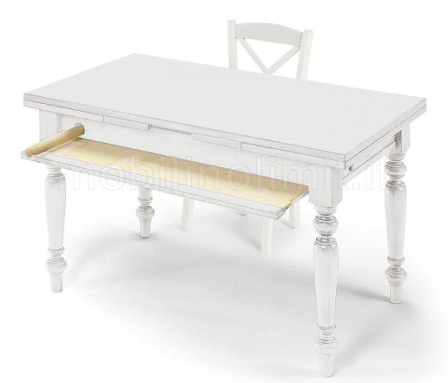 Tavolo allungabile con tagliere e mattarello - Bianco Opaco