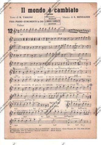 SPARTITO - CON 12 SUCCESSI DI VALZER TANGO MAZURCA E POLKA - FISARMONICA PIANO S