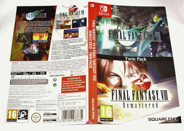 Cover copertina gioco final fantasy VII VIII 7 8 remastered nintendo Switch