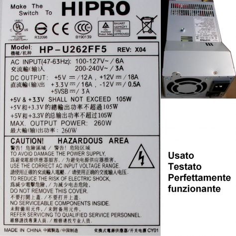 Alimentatore HIPRO HP-U262FF5 260W Power Supply REV: X04 AC INPUT(47-6 - Foto 2