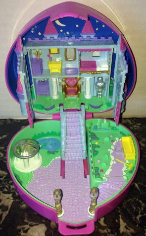 Polly Pocket Starlight Castle Pink Heart Compact bluebird 1992 castello con luci