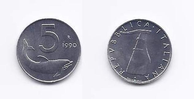 5, 10, 20, 50 e 100 lire fior di conio del 1990