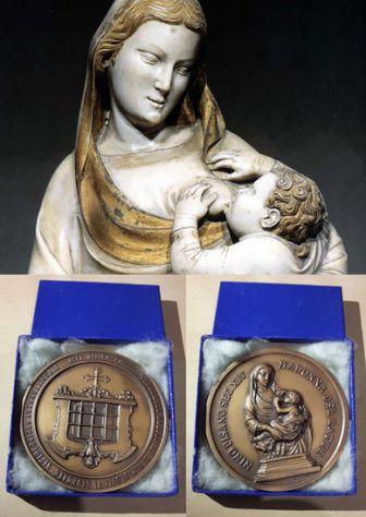 Medaglia Nino Pisano Sec. XIV Madonna del latte, 1960.