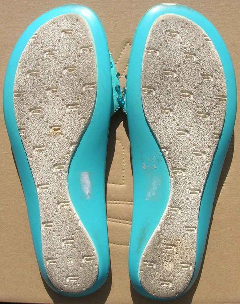 Fornarina ciabatte sandali donna numero 38 pelle colore celeste con brillantini. - Foto 2