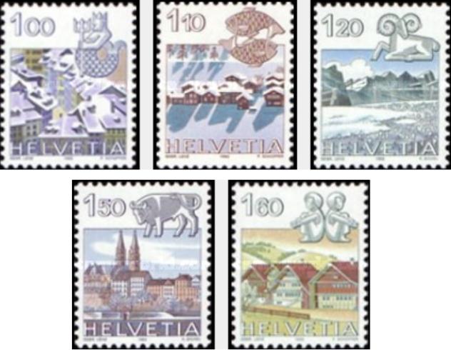 """Francobolli nuovi da collezione serie """"Zodiac"""" Svizzera"""