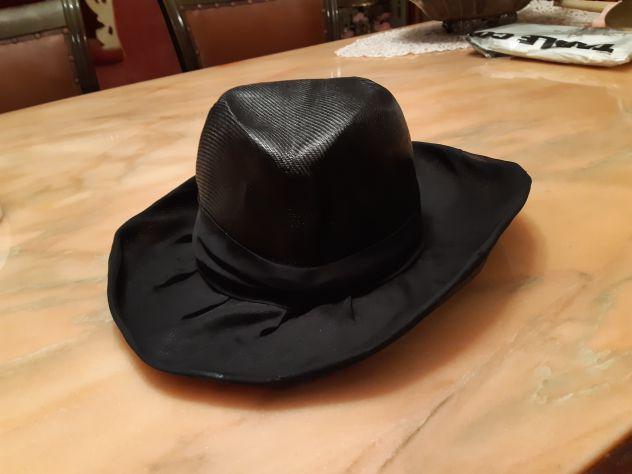 Cappello vintage paglia nera liscia