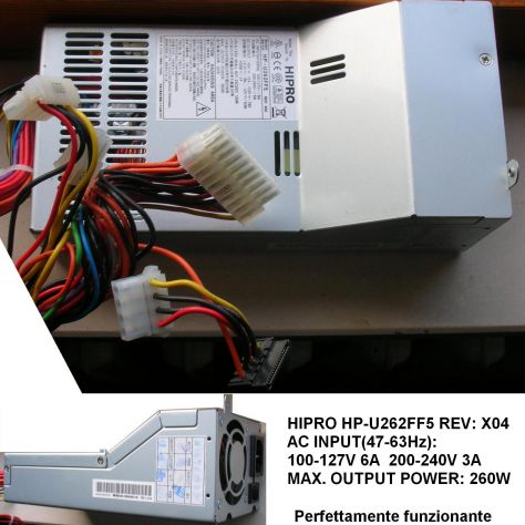 Alimentatore HIPRO HP-U262FF5 260W Power Supply REV: X04 AC INPUT(47-6