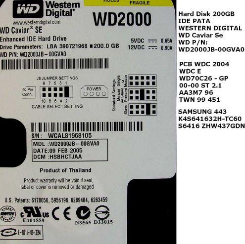 PCB Scheda logica HD Western Digital 200GB IDE PATA WD Caviar SE WD2000JB 0 … - Foto 3