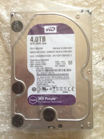 Hard Disk - Western Digital Purple - 4Tb - videosorveglianza 145€