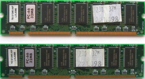 Memoria ram 32MB 168-pin 16chip 2x8 PC66 SDRAM DIMM, 2 moduli