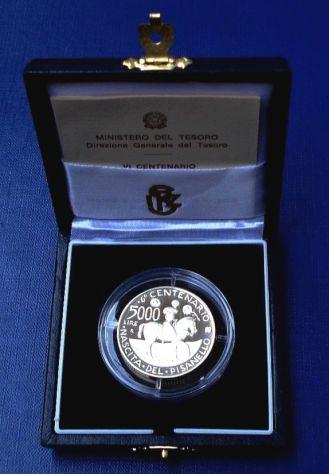 ITALIA REPUBBLICA ITALIANA 5000 LIRE 1995 NASCITA PISANELLO ARGENTO FS PROOF