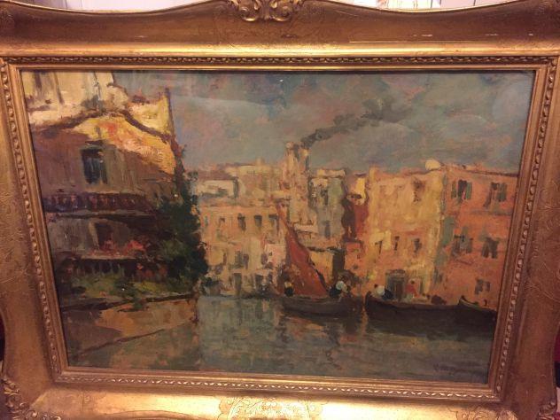 LEONARDO BAZZARO (1853-1937) OLIO SU TAVOLA CANALE DI CHIOGGIA '800/900