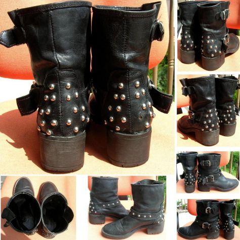 Scarpe Stivali Stivaletti donna pelle nero borchie fibbia cinta suola - Foto 3
