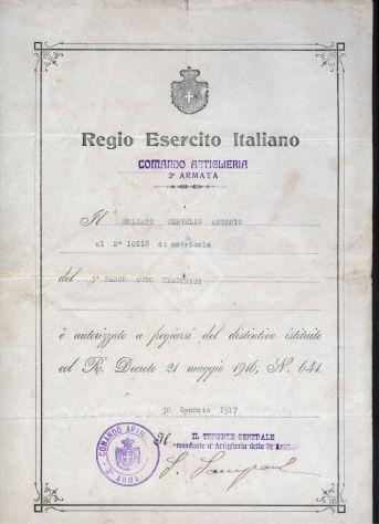 Documento del regio esercito italiano, 1917 - Foto 3