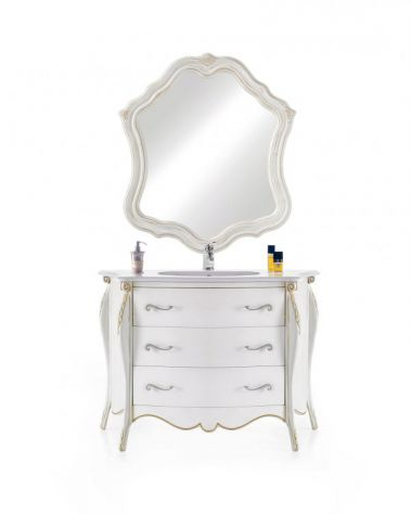 Mobile bagno con marmo e specchiera moderno laccato cod 7307