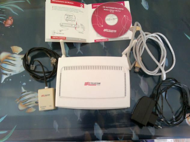 Modem Router WIFI Telecom ADSL 2+ Wi-Fi N - Antenne esterne - con accessori