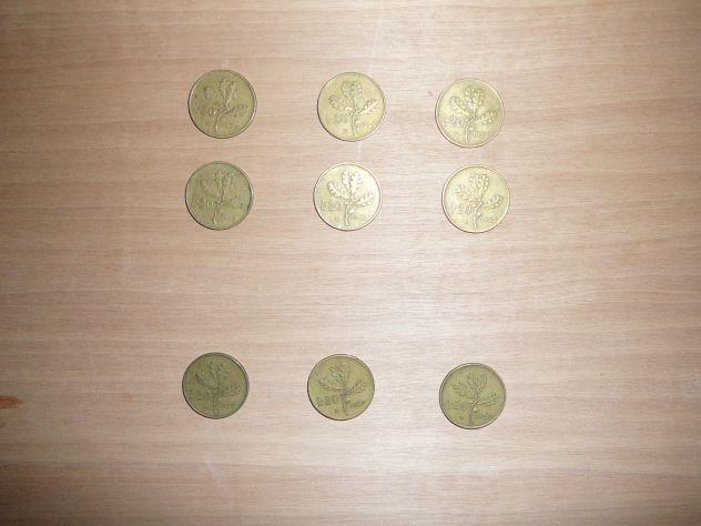 9 monete da 20 lire del 1957 - 58