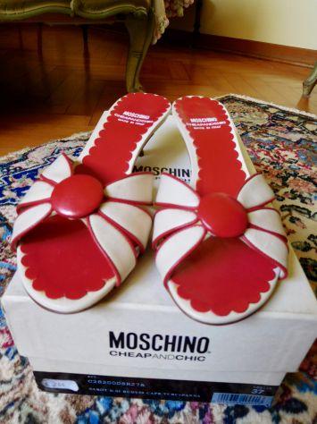 Sandali MOSCHINO Originali in vera pelle color bianco-rosso. Mai usati! - Foto 2