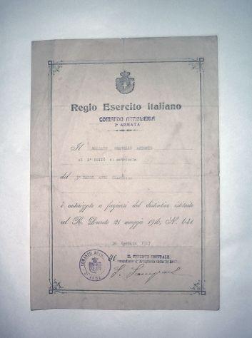 Documento del regio esercito italiano, 1917