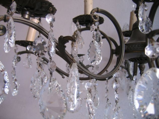 Lampadario Gocce Cristallo Anni 60.Lampadario A Gocce In Cristallo Vetro Ottone 12 Luci Vintage