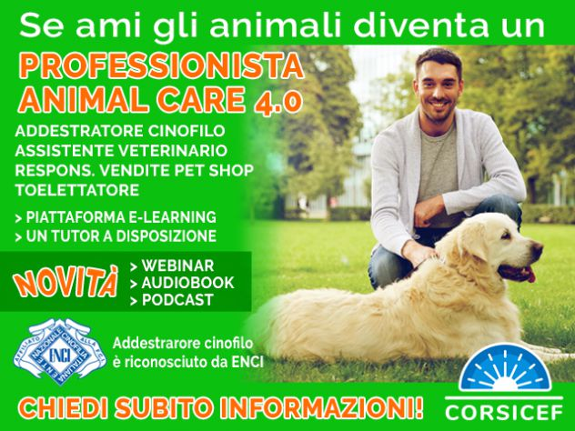 Corsi per PROFESSIONISTA ANIMAL CARE 4.0