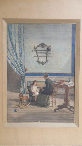 ACQUERELLO DI ACHILLE BUZZI ANNO 1885 PRECETTRICE CON BAMBINA