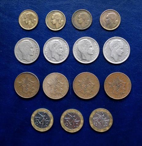 MONETE FRANCIA 10 FRANCS 15 MONETE ANNI DIVERSI