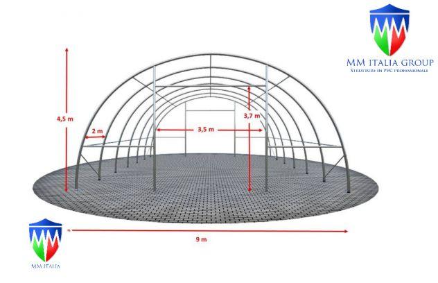 Agritunnel tunnel agricoli 9,15 x 12 x 4,5 professionali MM diam. Ø 76 - Foto 6