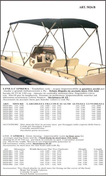Tendalini - Bimini - Cappottine in Acciaio a 4 Archi