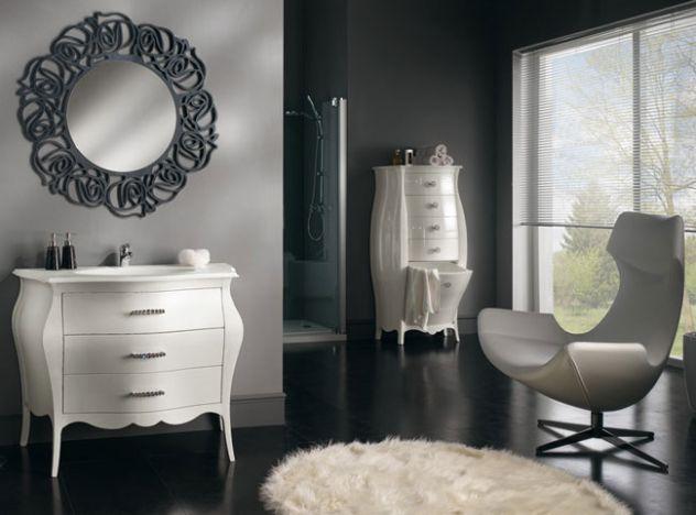 Mobile bagno completo, con marmo moderno laccato cod 7309