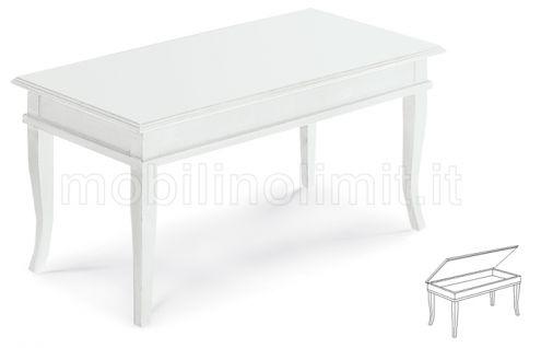 Tavolino Bacheca - Piano In Legno - Bianco Opaco - Nuovo