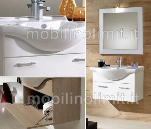 Mobile Bagno Sospeso - Bianco Lucido (105 cm) - Nuovo