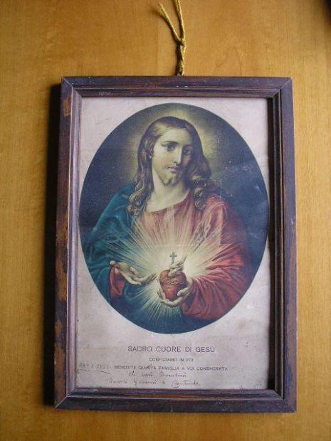 Sacro cuore in cornice legno primi '900
